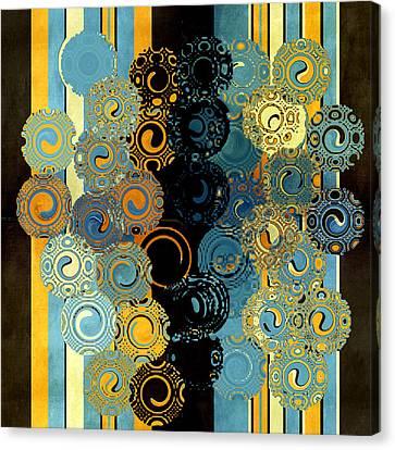 Blue And Tangerine Swirls Canvas Print by Bonnie Bruno