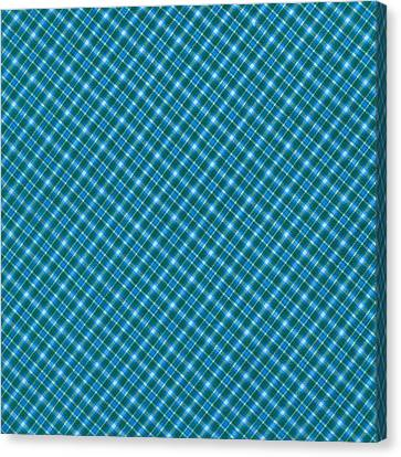 Blue And Teal Diagonal Plaid Pattern Textile Background Canvas Print by Keith Webber Jr
