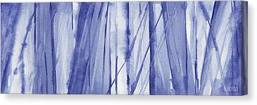 Blue And White Abstract Panoramic Painting Canvas Print by Beverly Brown