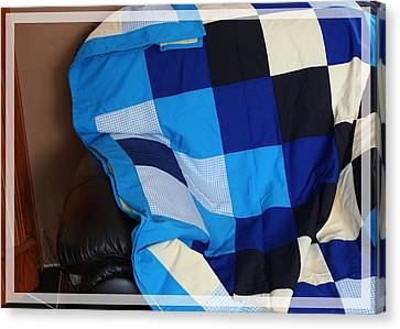 Blue And White Patchwork Quilt Canvas Print by Barbara Griffin