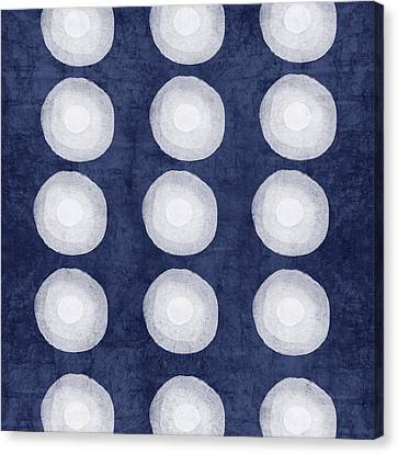 Blue And White Shibori Balls Canvas Print by Linda Woods