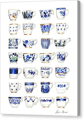 Blue And White Teacups Collage Canvas Print by Laura Row Studio