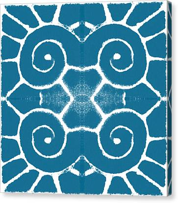 Blue And White Wave Tile- Abstract Art Canvas Print by Linda Woods