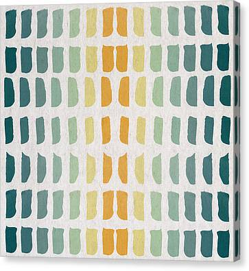 Blue And Yellow Pattern Canvas Print by Aged Pixel