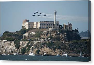 Blue Angels Over Alcatraz Canvas Print by Mountain Dreams