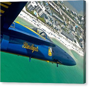 Blue Angels Over Pensacola Beach Canvas Print by Specialist 2nd Class Andrea Perez