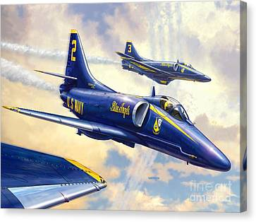 Blue Angels Skyhawk Canvas Print by Stu Shepherd
