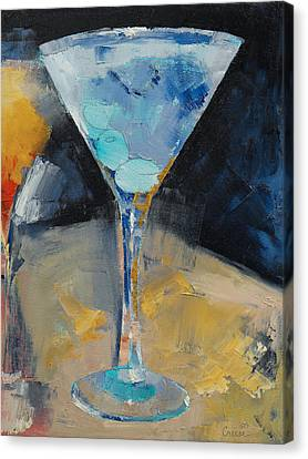 Blue Art Martini Canvas Print by Michael Creese