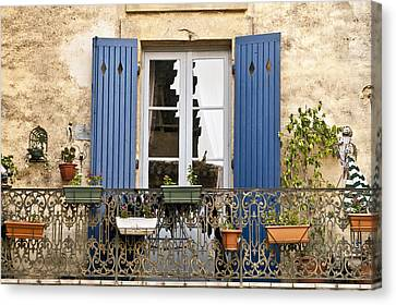Blue Balcony Canvas Print by Karma Boyer