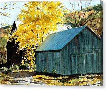 Blue Barn Canvas Print by Barbara Jewell