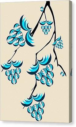 Blue Berries Branch Canvas Print by Anastasiya Malakhova