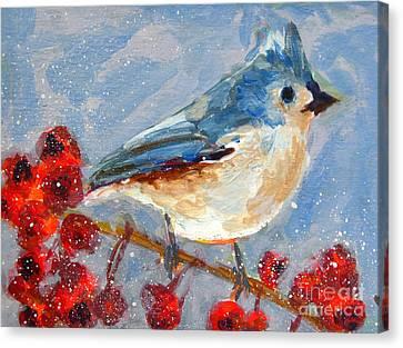 Blue Bird In Winter - Tuft Titmouse Modern Impressionist Art Canvas Print by Patricia Awapara