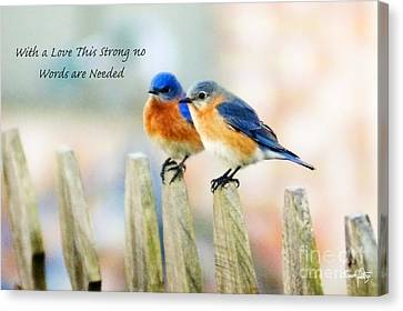 Blue Bird Love Notes Canvas Print by Scott Pellegrin