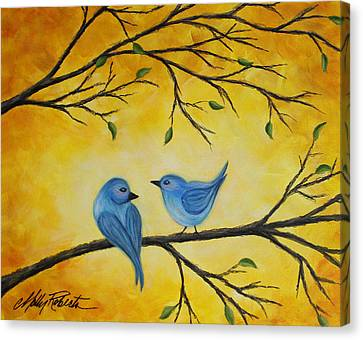 Blue Birds Canvas Print by Molly Roberts