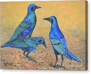 Blue Birds Of Happiness Canvas Print by Caroline Street
