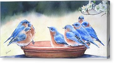 Blue Board Meeting Canvas Print by Patricia Pushaw