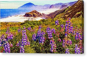 Blue Bonnets On Oregon Coastline Canvas Print by Bob and Nadine Johnston