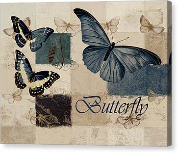 Blue Butterfly - J118118115-01a Canvas Print by Variance Collections
