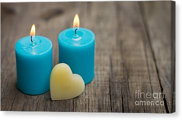 Blue Candles Canvas Print by Aged Pixel