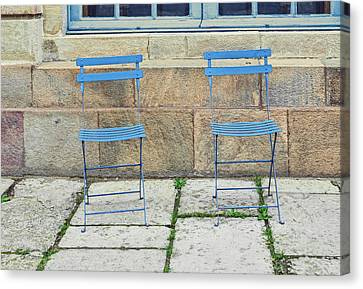 Blue Chairs 1 Stockholm Sweden Canvas Print by Marianne Campolongo