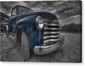 Blue Chevy Canvas Print by Mike Horvath