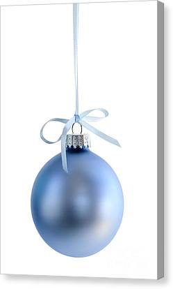 Blue Christmas Bauble Canvas Print by Elena Elisseeva
