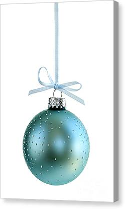 Blue Christmas Ornament Canvas Print by Elena Elisseeva