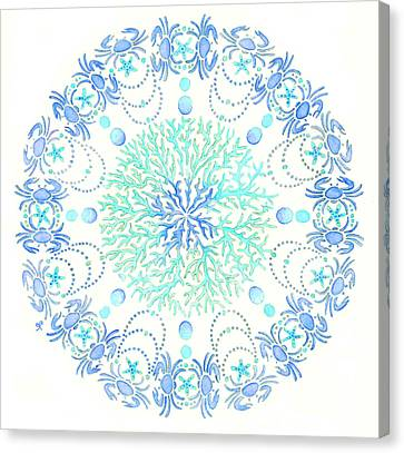 Blue Crab Mandala 5 Canvas Print by Stephanie Troxell