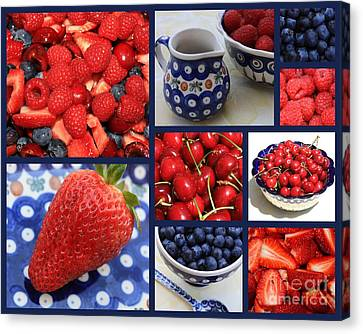 Blue Dishes And Fruit Collage Canvas Print by Carol Groenen