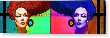 Blue Earring - Purple Lady Combo Canvas Print by Chuck Staley