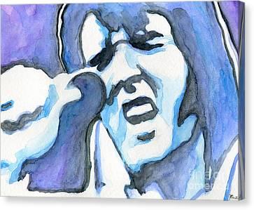 Blue Elvis Canvas Print by Roz Abellera Art