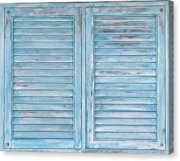 Blue Faded Shutter Of Aruba IIi Canvas Print by David Letts