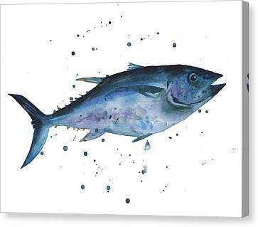 Blue Flash Tuna Canvas Print by Alison Fennell