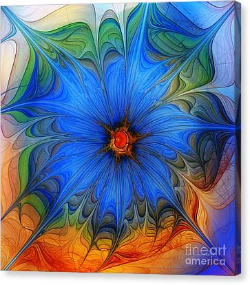 Blue Flower Dressed For Summer Canvas Print by Karin Kuhlmann