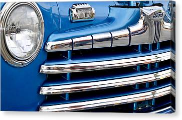 Blue Ford Classic Grill Canvas Print by Carolyn Marshall