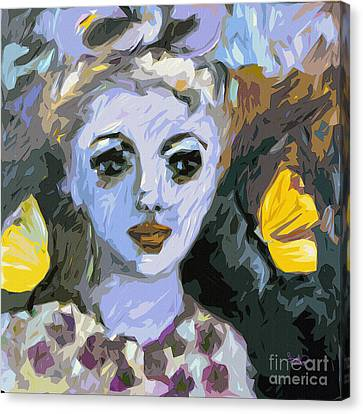 Blue Girl Abstract Modern Art Canvas Print by Ginette Callaway