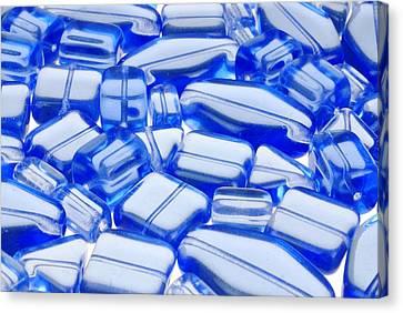 Blue Glass Beads Canvas Print by Jim Hughes