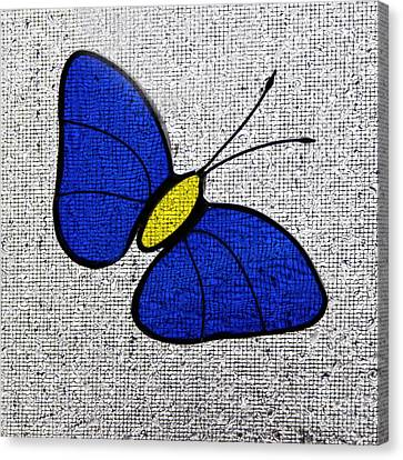 Blue Glass Butterfly Square Canvas Print by Karen Adams