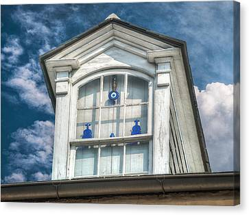 Blue Glass In Window Canvas Print by Brenda Bryant