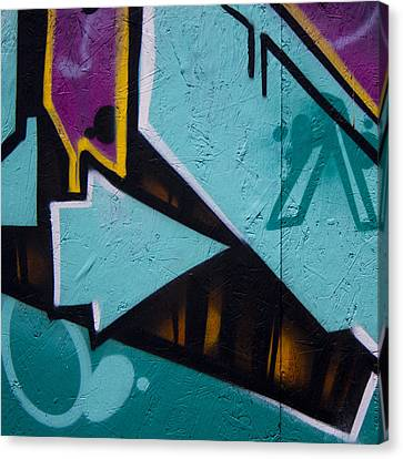 Blue Graffiti Arrow Square Canvas Print by Carol Leigh