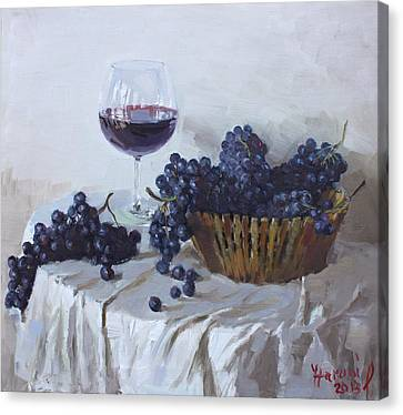 Blue Grapes And Wine Canvas Print by Ylli Haruni