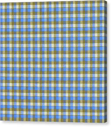 Blue Green And White Plaid Pattern Cloth Background Canvas Print by Keith Webber Jr