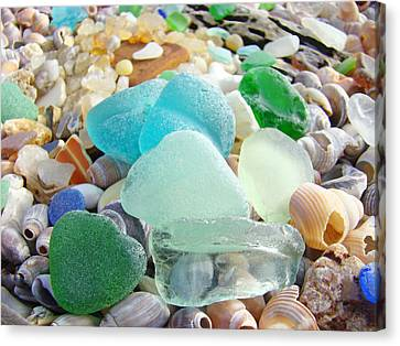 Blue Green Sea Glass Beach Coastal Seaglass Canvas Print by Baslee Troutman