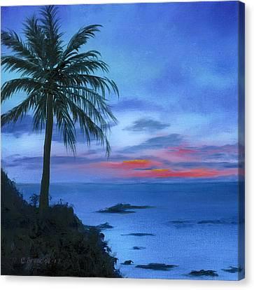 Blue Hawaiian Sunset Canvas Print by Cecilia Brendel