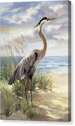 Blue Heron Deux Canvas Print by Laurie Hein
