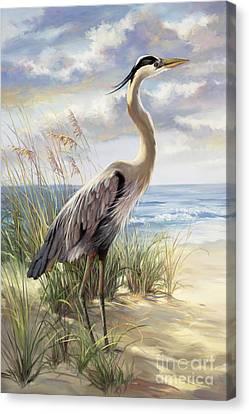 Blue Heron Deux Canvas Print by Laurie Hein
