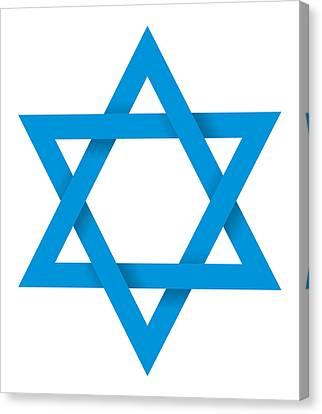Blue Hexagram 3d Canvas Print by Peter Hermes Furian
