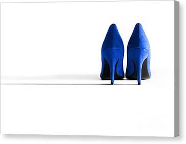 Blue High Heel Shoes Canvas Print by Natalie Kinnear