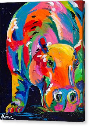 Blue Hippo Canvas Print by Tracy Miller