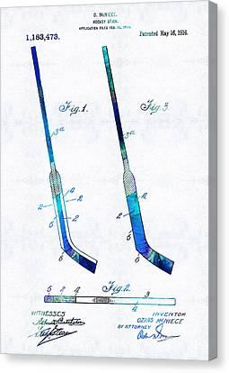 Blue Hockey Stick Art Patent - Sharon Cummings Canvas Print by Sharon Cummings